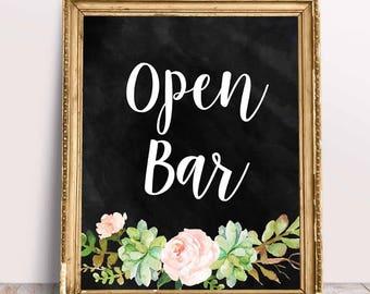 Printable Wedding Signs, Open Bar in Chalk Sign, Printable Wedding Decor,Mimosa Sign,Open Bar Sign,Instant Download,Digital Printable File