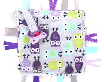 Baby Ribbon Tag Lovey Sensory Baby Toy- Purple Owls - Purple and Aqua - Pacifier Clip Holder