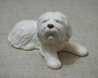 Porcelain white dog. Porcelain dog figurine white. China dog figurine white. Dog lover gift. Animal lover gift. Porcelain dog home decor.