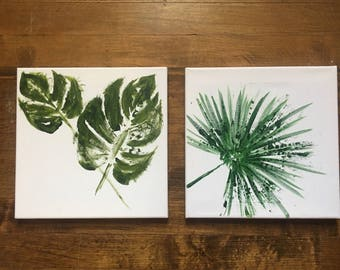 Set of two / Tropical foliage painting series