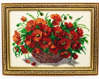 Bead-embroidered picture Poppies in vase decor gift  interior design decoration