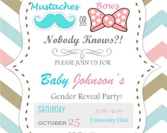 Mustache or Bow, Nobody Knows Gender Reveal Invite