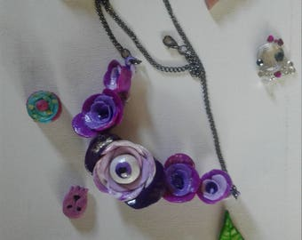 Gothic Creepy Cute Rose Necklace