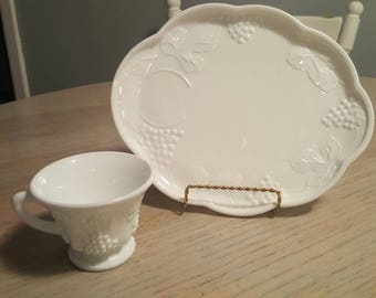 Milk glass lunch plates and cups