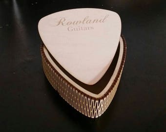 Personalised Custom Laser Cut Wooden Guitar Pick Boxes Plywood With Removable Lid
