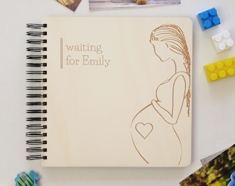 Personalized Pregnancy Photo Album, Bespoke Expecting Baby Gift, Mom To Be Memories Book, Customize Pregnancy Journal Diary Keepsake, Wooden
