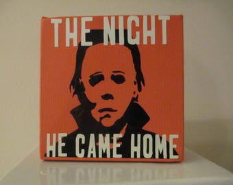 Halloween Michael Myers Horror Canvas Shelf Sitter Sign Home Decor Custom Colors Available