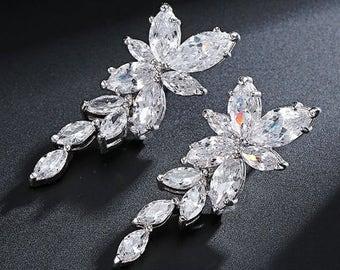 Crystal marquise bridal drop earrings
