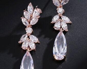 Rose gold crystal bridal drop earrings