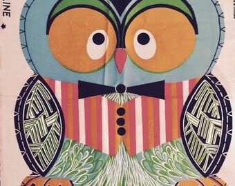 RARE Vintage Retro 1970s Cut and Sew Professor Owl Pillow Fabric