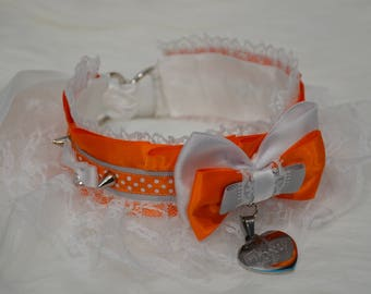 BDSM/DDLG/Kitten Play Collar Orange White Grey Foxy Stainless Steel Pendant