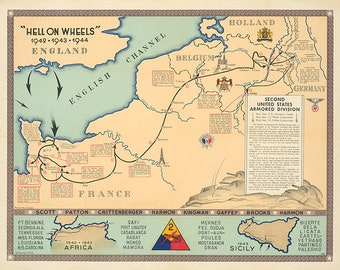 2nd Armored Division Campaign Map - Hell on Wheels - US Army - 1944 Version