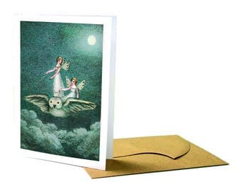Fairies Riding Owl Birthday Greeting Card