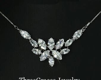 SALE Marquise Cut AAA Zirconia Bridal Necklace, Free Shipping.