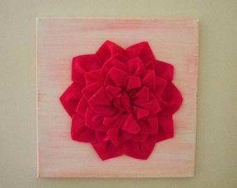 Felt Flower Canvas - Pink