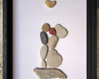 Pebble Art - Unique Wedding Gift - Pebble Art Wedding - Custom Wedding Gift - Housewarming - Wedding Couple with Genuine Heart Shaped Pebble