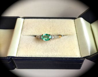 Emerald & Diamond Ring 9ct Yellow Gold 'Certified' Exquisite Colour and Clarity