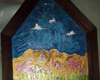 Spring - painting on glass, antique barn wood frame