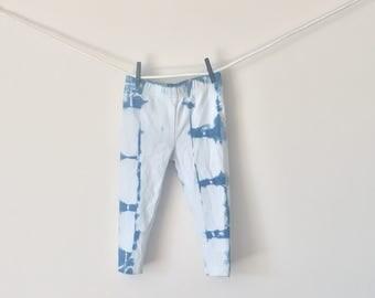New indigo hand-dyed girls cotton pants (toddler) - shibori style