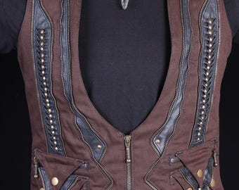 Quantum Collaborator Waistcoat (brown&black)steam punk-Doof-festivals-leather-Mens vest-psychedelic-fire performer-psytrance-Oregon eclipse