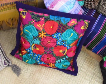purple mexican pillow case / pink and blue flower embroidery