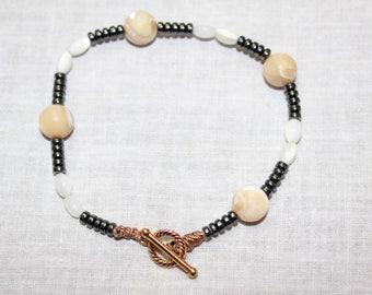 Handmade mother of pearl and hematite Semiprecious bracelets