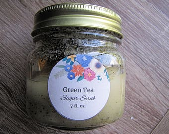 Green Tea Sugar Scrub // All Natural // Skin Care // Beauty // Gifts for Her // Mothers Day Gift Idea // Sulfate Free // Paraben Free