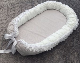 Handmade baby pod, bed, nest. Grey with pretty white flowers and with lace. Removeable mattress. Newborn to 6 months