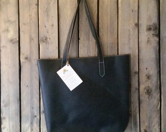 Large Black Leather Tote. Handmade