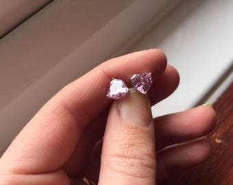 Pink Heart shaped crystal rose quartz 18ct White Gold filled stud earrings gift 6mm