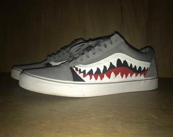 "Custom Bape ""Week of Sharks"" Vans Old Skool"