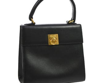 Celine Vintage Authentic logo hand bag purse classic black gold leather yg00741