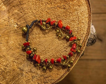 Bracelet with Golden beads and red stones/red stones/bracelet with bells