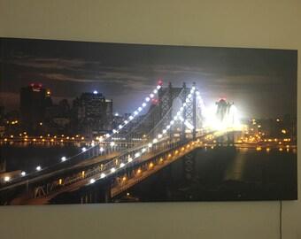 DIY Led Lighted Canvas Brookly Bridge