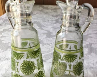 2 Retro Vintage Citrus Lime Anchor Hocking Oil & Vinegar Cruets Bottles George Briard?