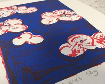 Original Lino Print Susie's Sky