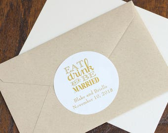 Personalized Round Metallic Foil Wedding Labels