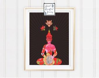 Buddha Poster with rays, Digital Print, Buddha Print, Buddha Home Decor, Wall Art, Bedroom Decor, House Decor, Fabric Print, Buddha Art