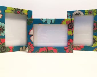 3 Floral Retro Teal Photo Frames