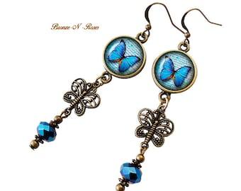 Blue butterflies during bronze glass earrings orange