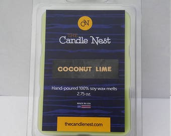 100% Natural Soy Wax, Coconut Lime Scented Melts