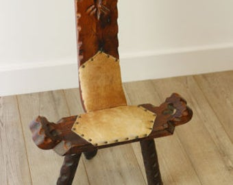 Vintage Folk Art Birthing Chair with Studded Hide Cover
