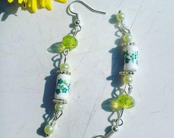 Green Ceramic flower bead dangle earrings
