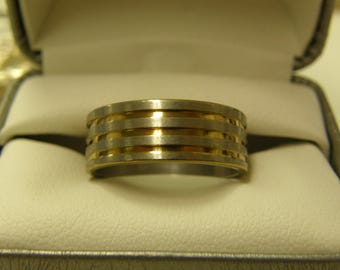 Men's Stainless Steel Two Tone Gold & Silver Ring - Nice - Never Worn - Size 11 1/2
