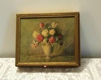 Antique Victorian Floral Picture Framed Pressed Wood Jewelry/Storage Box