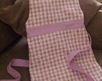Girls cooking kitchen apron purple gingham