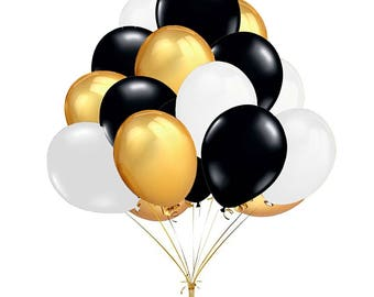 """60-Count 10"""" Mixed Gold Black White Round Latex Balloons Prince Boy Baby Shower Birthday Party Wedding Engagement Decoration"""