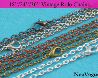 50 - 18inch, 24 inch and 30 inch 3mm thick Vintage Rolo Chain Necklace, Metal Necklace Chain, Oval Link Chain Necklace - Free Shipping