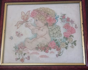 Finished Cross stitch Cherub and butterfly