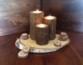 Hand made Log Tea Light Candle Holders